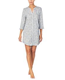 로렌 랄프로렌 슬립셔츠 나이트가운 Lauren Ralph Lauren 3/4 Sleeve Knit Sleepshirt Nightgown,Blue Multi
