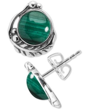 Malachite Feather Stud Earrings in Sterling Silver