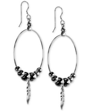 Feather & Bead Hoop Drop Earrings in Sterling Silver