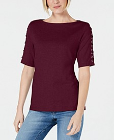 Plus Size Lace-Sleeve Cotton Top, Created for Macy's