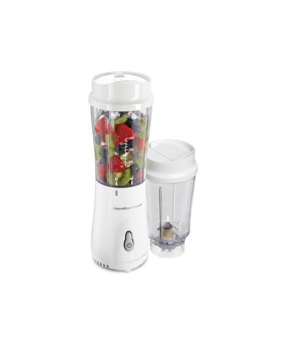 Hamilton Beach® Smoothie Blender with 2 Travel Jars and 2 Lids, White