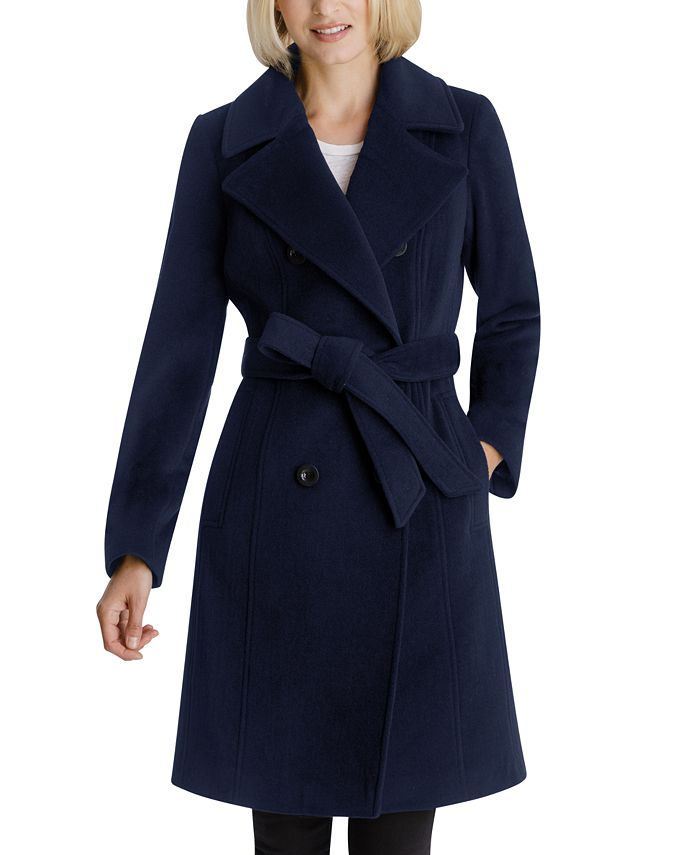 Anne Klein - Double-Breasted Belted Coat
