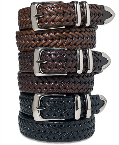 Perry Ellis Men's Leather Big and Tall Braided Belt