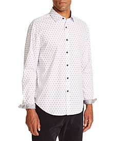 Tallia Men's Slim Fit White Diamond Long Sleeve Shirt and a Free Face Mask With Purchase