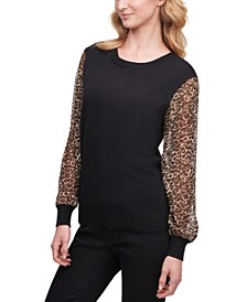 Leopard-Sleeve Sweater, Created for Macy's