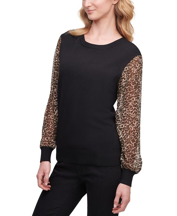 DKNY Leopard-Sleeve Sweater, Created for Macy's