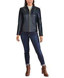Stand-Collar Leather Moto Jacket
