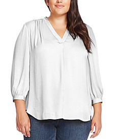 Plus Size V-Neck 3/4-Sleeve Blouse