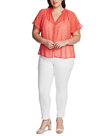 Plus Size Dot-Print Blouse
