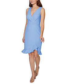 Betsey Johnson Faux-Wrap Flounce Midi Dress