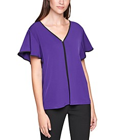 Piped Flutter-Sleeve Top