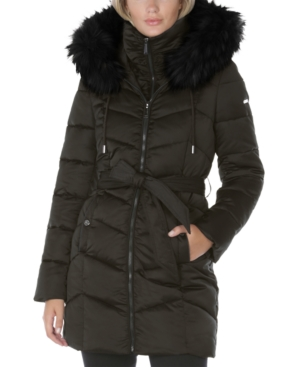 Laundry By Shelli Segal LAUNDRY BY SHELLI SEGAL BELTED FAUX-FUR-TRIM HOODED PUFFER COAT