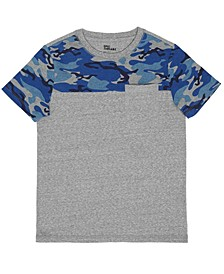Big Boys Short Sleeve Crew Neck Camo Blocked T-Shirt