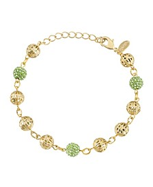 Gold-Tone Green Fireball and Filigree Beaded Bracelet