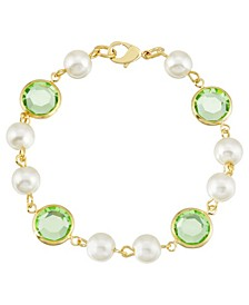 Gold-Tone Imitation Pearl with Light Green Channels Link Bracelet