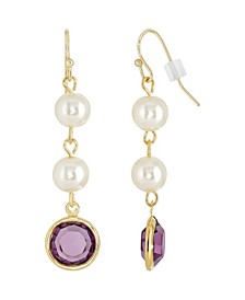 Gold-Tone Imitation Pearl with Purple Channels Drop Earring