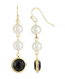 Gold-Tone Imitation Pearl with Black Channels Drop Earring