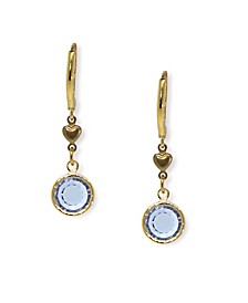 Gold-Tone Light Blue Channel Crystal Drop Earring