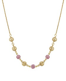 "Gold-Tone Round Balls with Pink Fireballs 16"" Adjustable Necklace"