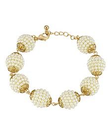 Gold-Tone Multi Round Imitation Pearl Ball Bracelet