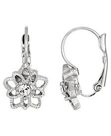 Silver-Tone Crystal Star Drop Earring