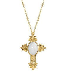 "14K Gold Dipped Oval Semi Precious Genuine White Quartz Cross 28"" Necklace"
