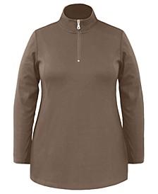 Plus Size Half-Zip Tunic Top, Created For Macy's