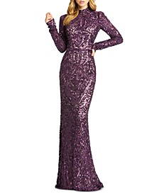 Sequinned High-Neck Gown