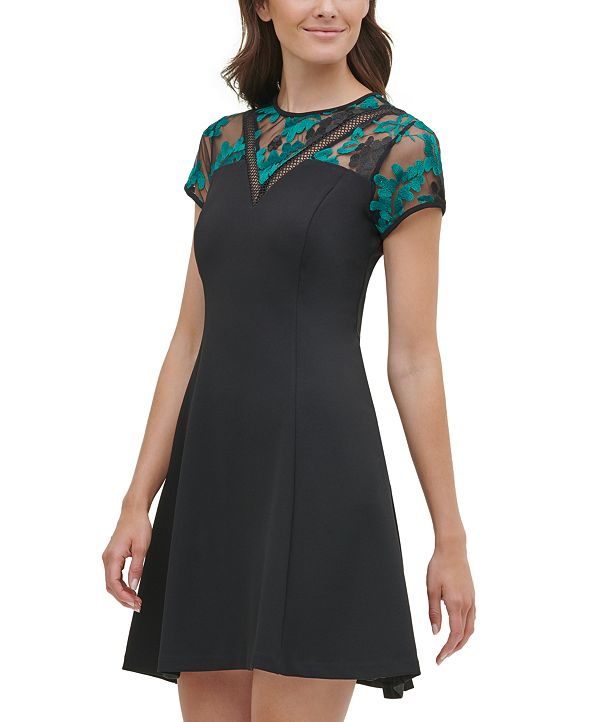 kensie Embroidered Mesh Fit & Flare Dress