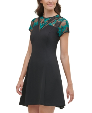 Kensie KENSIE EMBROIDERED MESH FIT & FLARE DRESS