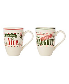 Post Office Naughty & Nice 2-Piece Mug Set