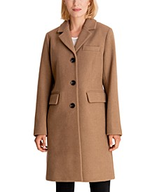 Petite Single-Breasted Reefer Coat, Created for Macy's