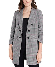 Plus Size Ruched-Sleeve Plaid Blazer