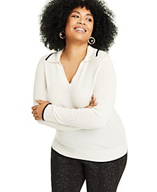 Plus Size Cashmere Johanna-Collar Sweater, Created for Macy's