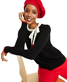 Bow Detail Colorblocked Cashmere Sweater, Created for Macy's