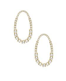 18K Gold Shine Far Oval Crystal Women's Earrings