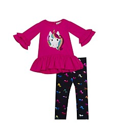Little Girl Knit Set With Unicorn Applique