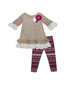 Toddler Girl Knit Sweater Set With Printed Leggings