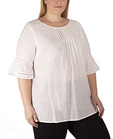 Women's Plus Size Scoop Neck Bell Sleeve Blouse with Crochet and Pleating