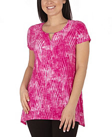 NY Collection Women's Plus Size Short Sleeve Shark Bite Top with Keyhole