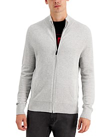 Men's Regular-Fit Textured Stitch Full-Zip Sweater