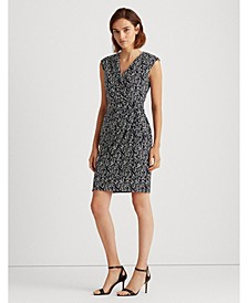 Petite Print Jersey Surplice Dress