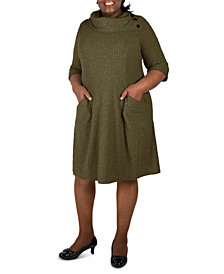 Robbie Bee Plus Size Cowlneck Knit Sweater Dress