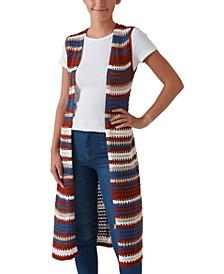 Juniors' Striped Duster Vest