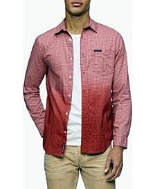 Men's Ombre Button-Down Long Sleeve Shirt