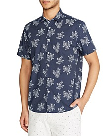 Tallia Men's Slim-fit Stretch Rose Print Short Sleeve Shirt and a Free Face Mask With Purchase