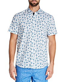 Tallia Men's Slim-Fit Stretch Floral Short Sleeve Shirt and a Free Face Mask With Purchase