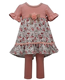 Toddler Girl Short Sleeved Knit To Knit Pant Set With Floral Flounce And Lace Trim, Solid Knit Legging