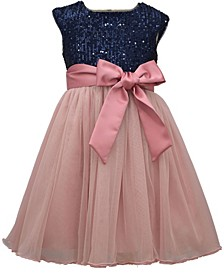 Big Girl Cap Sleeve Navy Sequin Bodie To Mesh Ballerina Skirt With Satin Band And Bow