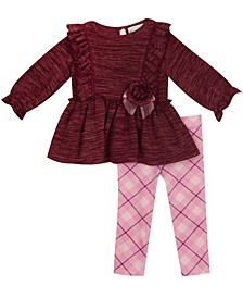 Baby Girls Knit Long Sleeve Set with Plaid Knit Legging